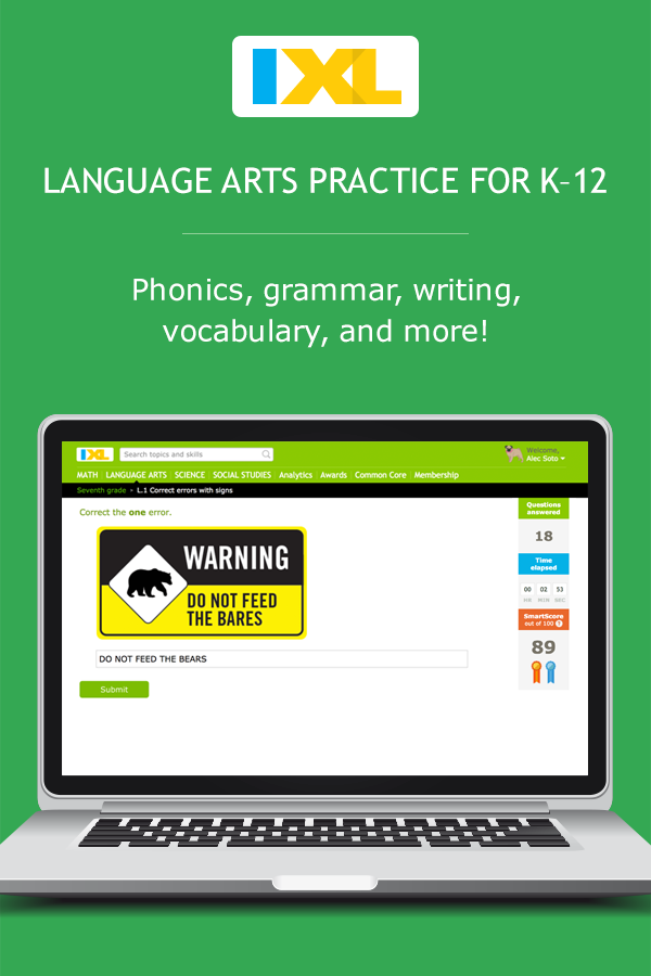 IXL - Seventh grade language arts practice
