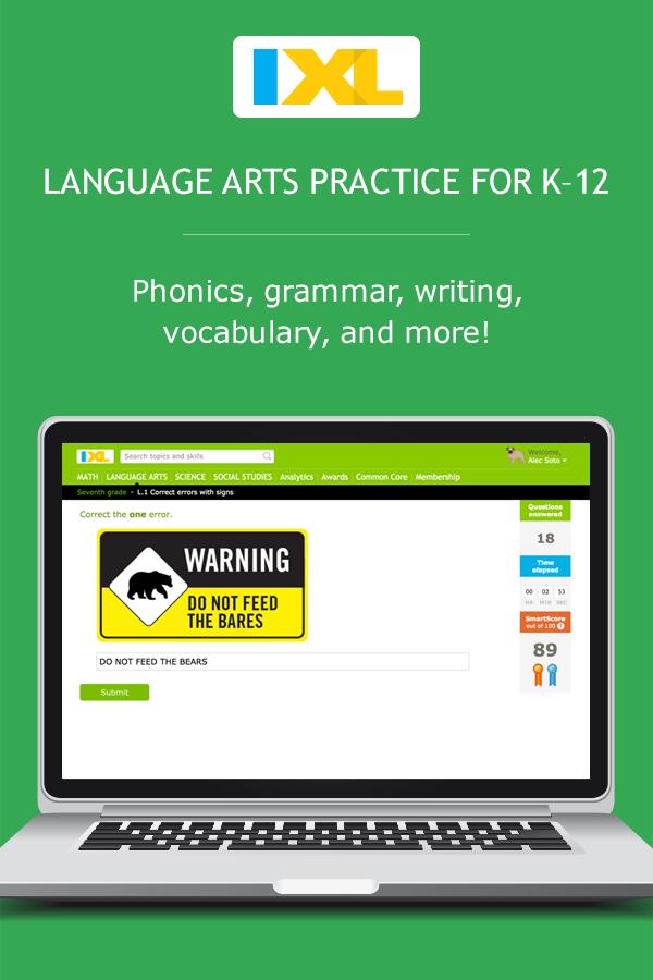 Ixl language arts online language arts practice fandeluxe Choice Image