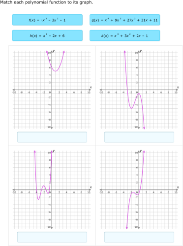 IXL - Match polynomials and graphs (Precalculus practice)