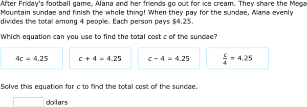 IXL | Solve one-step equations: word problems | 6th grade math