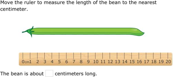 ixl measure using a centimeter ruler 1st grade math