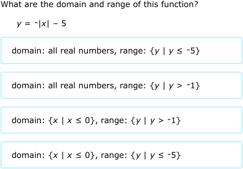 ixl domain and range of absolute value functions equations algebra 1 practice