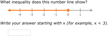 IXL | Write inequalities from number lines | 6th grade math