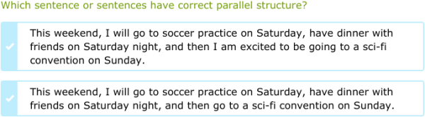 IXL - Identify sentences with parallel structure (9th grade ...