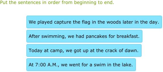 IXL | Put the sentences in order | 3rd grade language arts