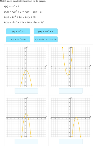 Ixl Match Quadratic Functions And Graphs Algebra 1 Practice