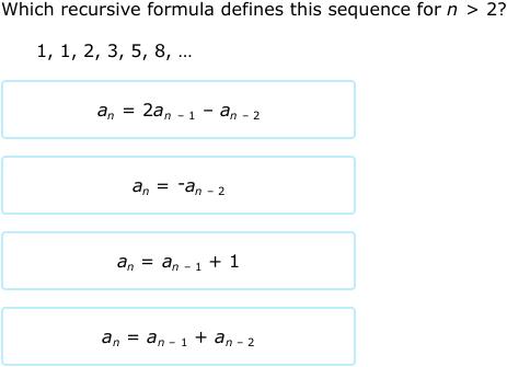 IXL - Find a recursive formula (Precalculus practice)