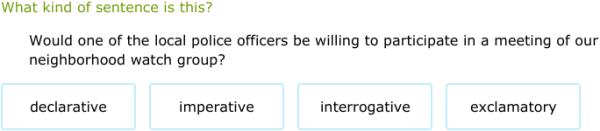 declarative interrogative imperative and exclamatory sentences