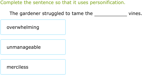 how to use personification in a sentence