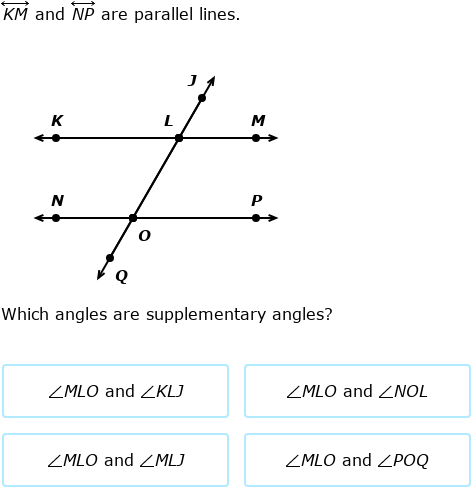 IXL | Transversals of parallel lines: find angle measures