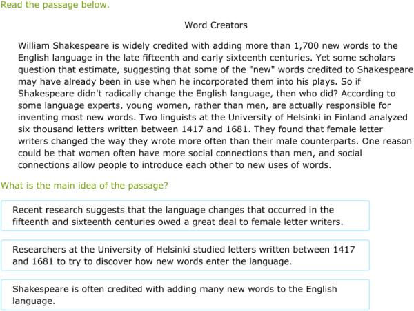 Ixl Determine The Main Idea 6th Grade Language Arts