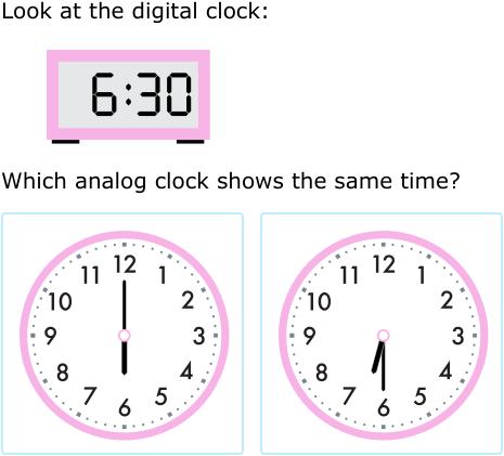 ixl match analog and digital clocks 1st grade math