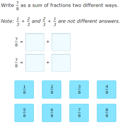 IXL - Decompose fractions multiple ways (4th grade math practice)