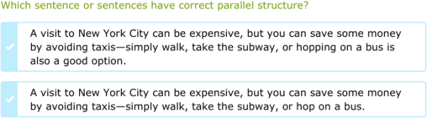 IXL | Identify sentences with parallel structure | 10th