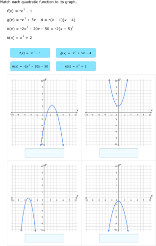 Ixl Match Quadratic Functions And Graphs Algebra 2 Practice